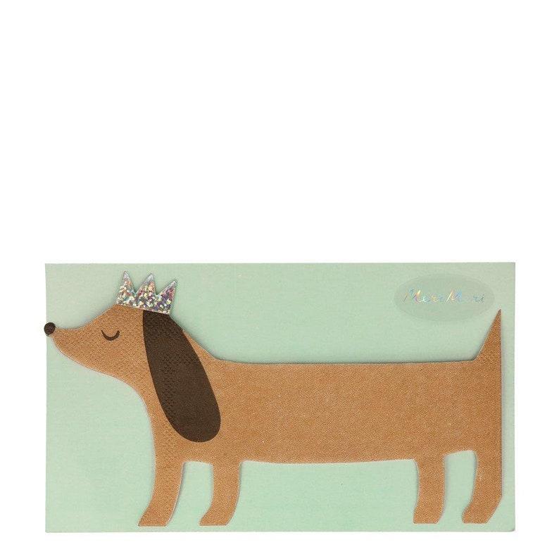 Set of 16 Meri Meri Die-Cut Dachshund Party Napkins with Silver Sparkle Detail Sausage Dog Napkins