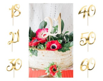 Gold Birthday Number Cake Topper, Pick your Birthday Number, Available in 18, 21, 30, 40, 50, and 60