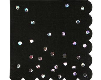 Black Holographic Large Napkins, Set of 16 Meri Meri Holographic Foil Large Napkins with a Scalloped Edge