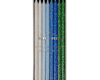Tall Blue & Green Glitter Candles, Set of 24 Large White, Blue, and Green Birthday Candles in a Range of Shades
