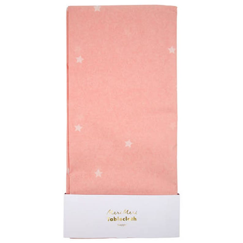 Tablecloth with White Stars on Pink Pink Star Paper Tablecloth Great for a Twinkle Twinkle or Star-Themed Birthday Party