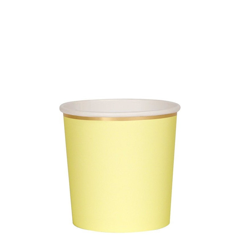 Holds 9 Ounces Pale Yellow Small Party Cups Set of 8 Meri Meri Beautiful Basics Pale Yellow Tumbler Paper Cups