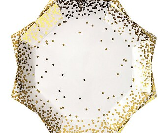 Gold Confetti Large Paper Plates - Set of 8 Meri Meri Star-Shaped 9  x 9  Shiny Gold Confetti Party Plates- Great for Holiday Parties!  sc 1 st  Etsy & Gold Stars Paper Plates Set of 8 Meri Meri Toot Sweet Gold