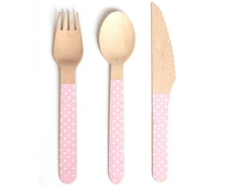Pink Polka Dot Wooden Cutlery -Set of 24 Pink and White Dot Wooden Forks, Spoons or Knives by Sambellina - The perfect touch for any party!