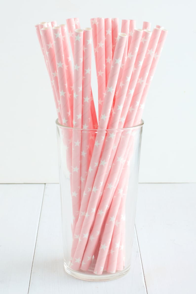 25 Light Pink Star Paper Straws Perfect For A Twinkle Twinkle Little Star Birthday Party White Stars On A Light Pink Paper Straw