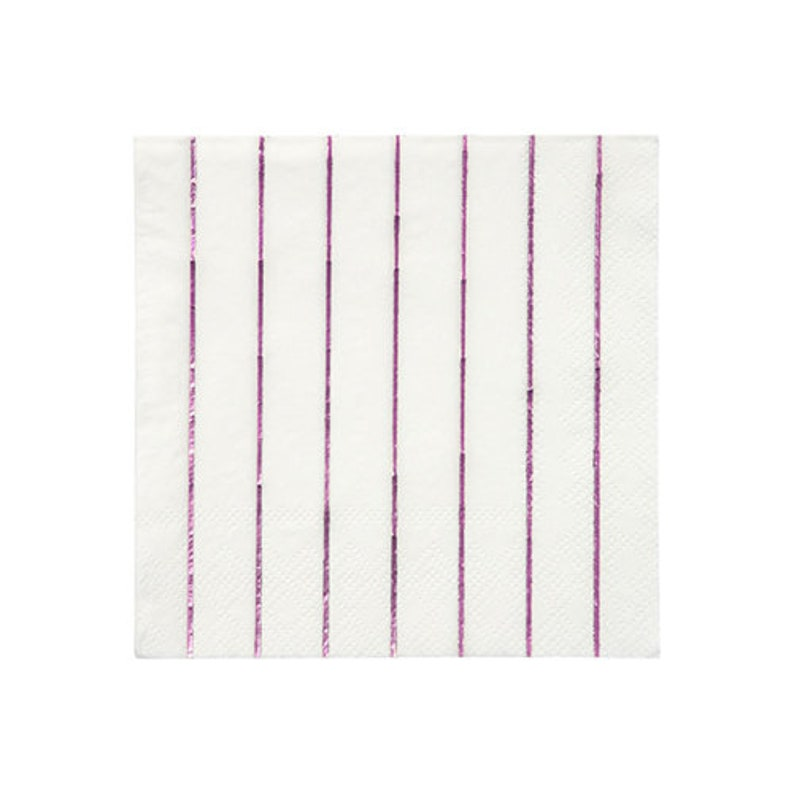 Set of 16 Meri Meri Metallic Pink Stripe Cocktail Napkins 5 x 5 Shiny Pink Stripe Small Napkins