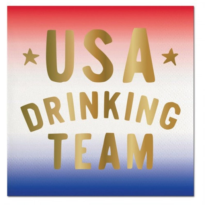 USA Drinking Team Napkins White and Blue Cocktail Napkins with Gold Foil Text Great for a 4th of July Party! Set of 20 Red
