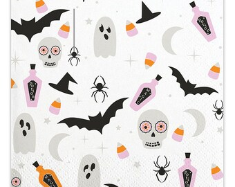 Halloween Cocktail Napkins, Set of 20 Halloween  Napkins with Ghost, Bat, Skull, Potion, Spider, and Candy Corn Design