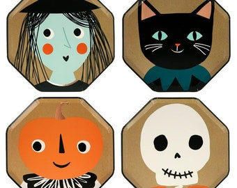 Halloween Paper Plates, Set of 8 Meri Meri Vintage Halloween Side Party Plates, Includes Black Cat, Pumpkin, Skull, and Witch Designs