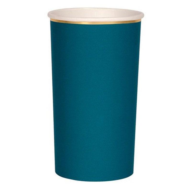 Dark Teal Highball Party Cups Set of 8 Meri Meri Beautiful Basics Tall Highball Dark Green Paper Cups Holds 14 Ounces