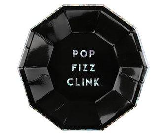 "Pop Fizz Clink Small Black Plates, Set of 8 Meri Meri 7"" x 7"" Holographic Foil Small Party Plates"