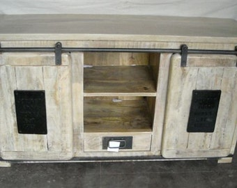 Sideboard Tv Barm Sliding Doors Reclaimed Wood