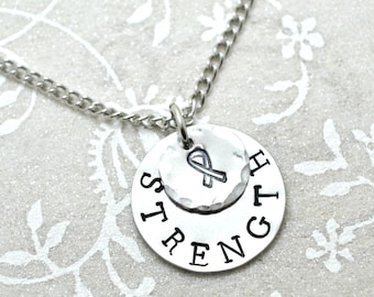 Cancer Necklace, Cancer Jewelry, Strength Necklace, Hope Necklace, Cancer Ribbon, Inspire Necklace, Stamped Necklace, Custom Necklace