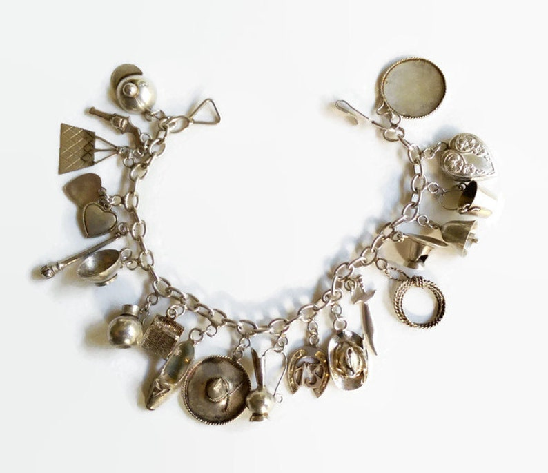 92b7b2e40c08f Mexican Sterling Silver Charm Bracelet - 1940s - Gift for Her