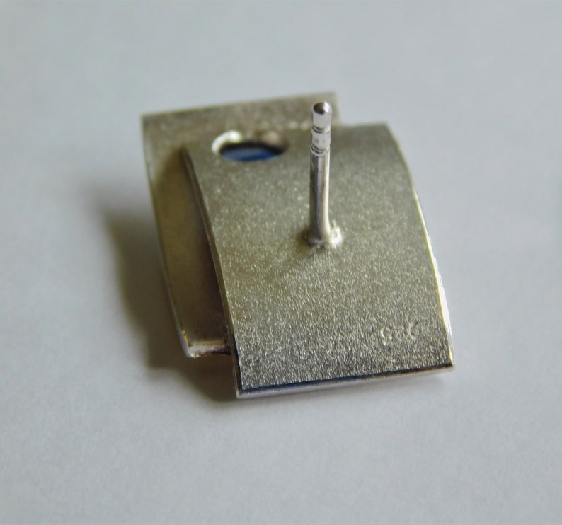 Gift for Her 970 Silver 23K Gold Silver and Gold Earrings with Bicolor Sapphires Artisan Made