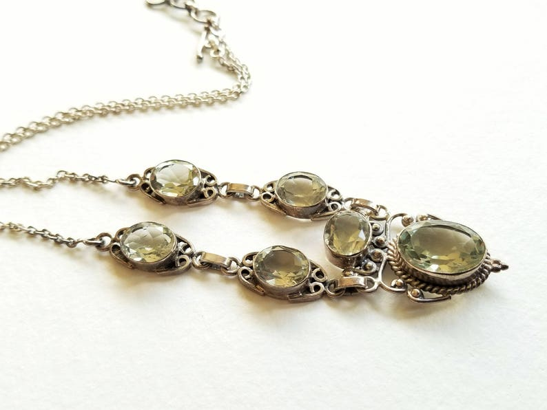 Toggle with Extender Sterling Silver Y Necklace Faceted Green Quartz Gift for Her
