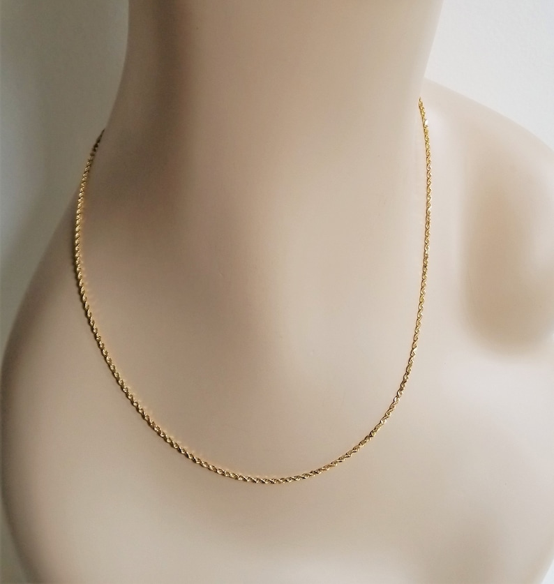 97a5d0f61fd7c 18K Gold Necklace - French Rope Chain with Safety - Diamond Cut - Gift for  Her