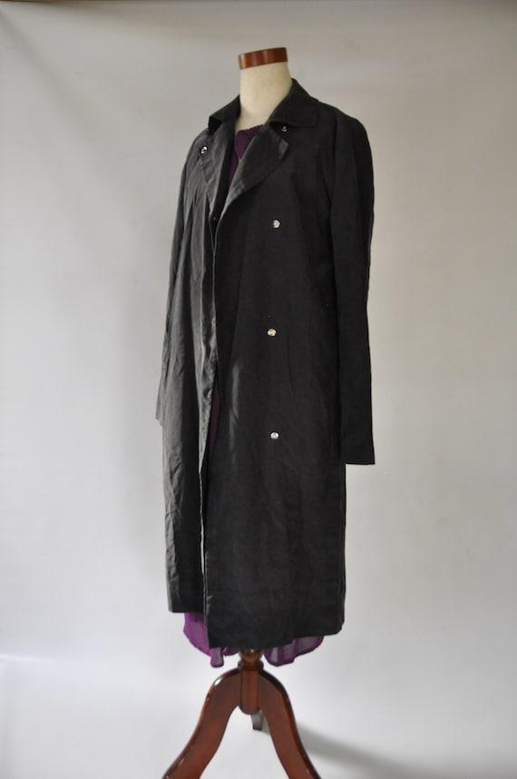 Vintage Black Silk Trench Coat