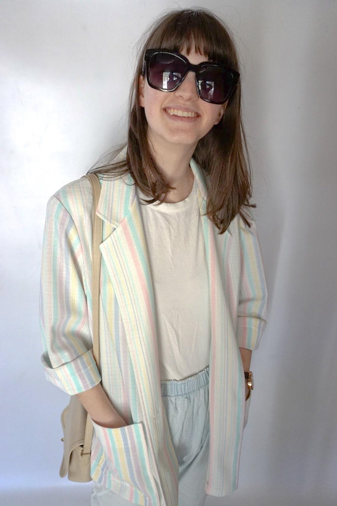 Vintage Striped Summer Blazer