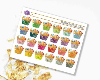 Grocery Shopping Colorful Gold Glitter Baskets - Food Chores - 1 Sheet, 20 Stickers - Perfect for use in ANY Planner!