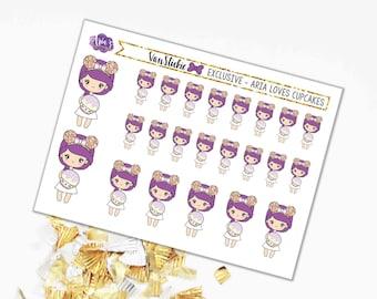 VANSTICKIE EXCLUSIVE COLLAB - Aria Loves Cupcakes, Cupcake, Birthday Girl, Celebrate - Sticker Sheet & Die-cut