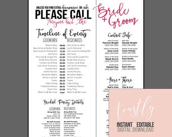Editable Wedding Timeline - Call Anyone but the Bride and Groom! - Edit in Word - Phone numbers and timeline - Day of Wedding Schedule