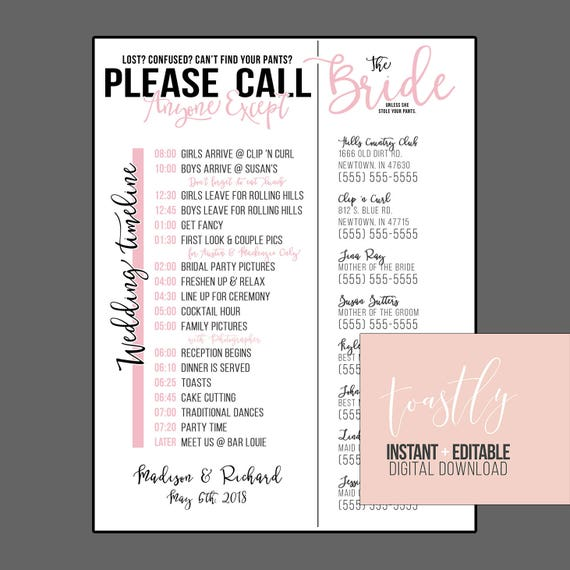 Editable Wedding Timeline Call Anyone Except The Bride Edit In Word Phone Numbers And Timeline Day Of Wedding Schedule