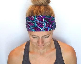 Fitness Headband - Workout Headband - Running Headband - Yoga Headband - Moonlit Peacock