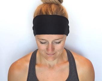 Black Fitness Headband - Workout Headband - Running Headband - Yoga Headband - Midnight Black