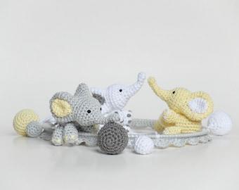 Baby Mobile, Crochet Elephant, Crochet Baby Gift, Handmade Baby Mobile, Elephant Crib Mobile