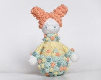Crochet Doll Toy, Baby Girl Doll, Orange Gemma Doll, Newborn Gift Toy,  Nursery Decor.