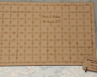 Wedding jigsaw, guest book, jigsaw, alternative guest book, wedding guest book alternative, personalised guest book, wedding puzzle wood