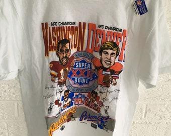Vintage 1987 Super Bowl XXII T-Shirt. John Elway Denver Broncos 1b057f238