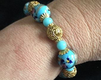 Antique Venetian Wedding Cake Bead Bracelet with Gold Tone Accents