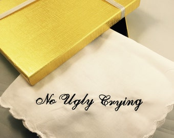 Set of 5 No  ugly crying\u2122 handkerchief set with an added date and name