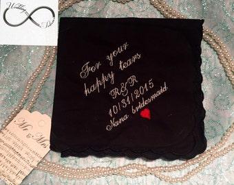 Free Shipping Bridesmaid wedding handkerchief black
