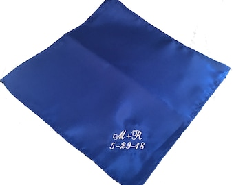 Mens Pocket Square Handkerchief Embroidered by Wedding Tokens- Groom Gift