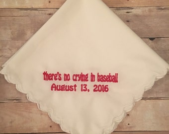 There's no crying in baseball wedding handkerchief