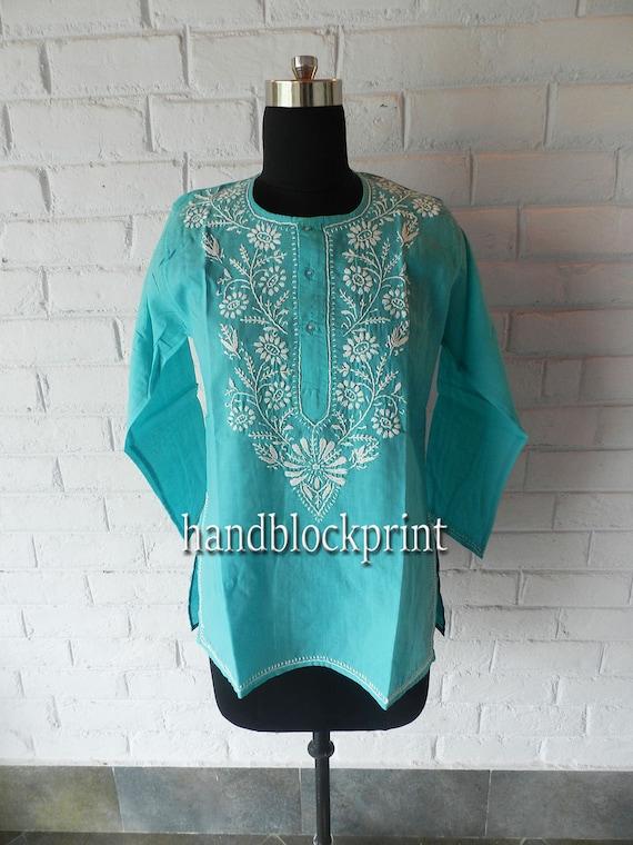 Women Plus Size Turquoise Cotton Tunic,Embroidered Tunic,Indian  Tunic,Indian Blouse,Indian Dress,Summer Tunic,Beach Tunic,Beach Cover Up,Top