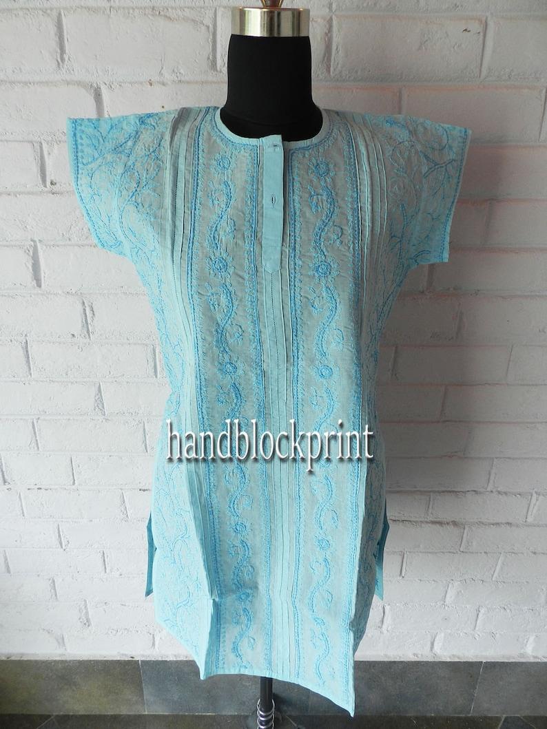 Women/'s Blue Embroidered Cotton Tunic,Summer Tunic,Beach Tunic,India Tunic,Maxi Dress,Night Dress,Indian Blouse,Indian Dress,Maxi dress,Top
