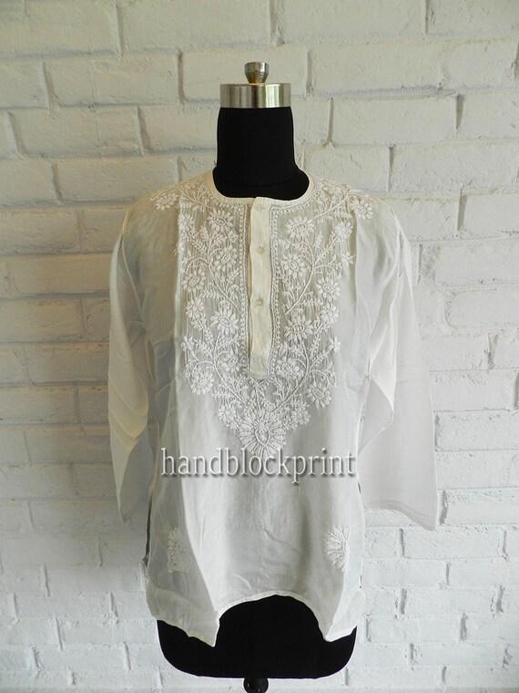 Women/'s White Embroidered Short Cotton Tunic,Summer Tunic,Beach Tunic,Bohemian Tunic,India Tunic,Maxi Dress,Night Dress,Indian Cotton Blouse