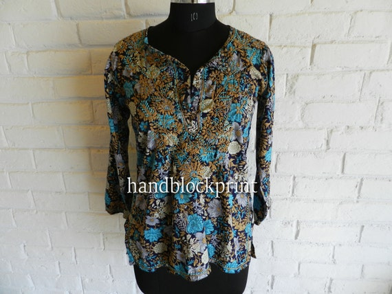 Blue Embroidered Tunic Top,Ladies Blue Cotton Tunic,Summer Tunic,Beach Tunic,Beach Cover Up,Top /& Tees,Valentine/'s Top Tunic,Indian Tunic