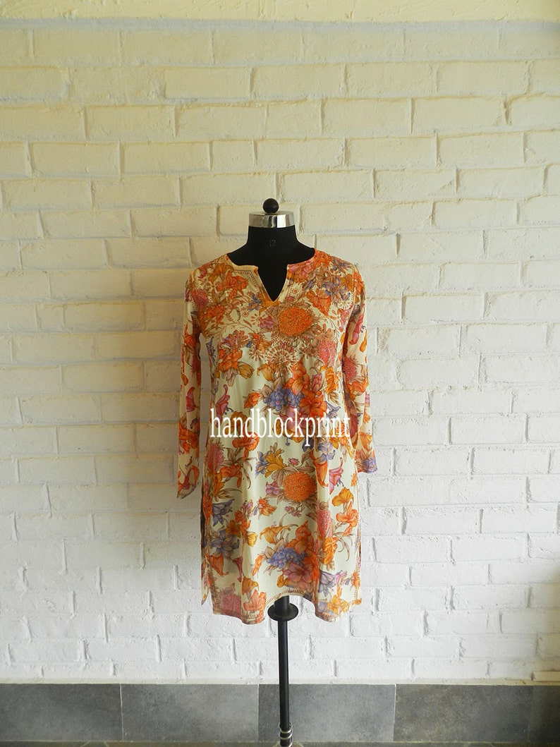 Women/'s Long Tunic,Summer Tunic,Printed Tunic,Beach Tunic,Bohemian Tunic,India Tunic,Indian Kurti,Maxi Dress,Indian Blouse,Top Sold Out