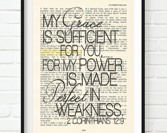 Vintage Bible page verse scripture Grace is sufficient 2 Corinthians 12:9 ART PRINT, UNFRAMED, dictionary, Wedding gift, christian gift