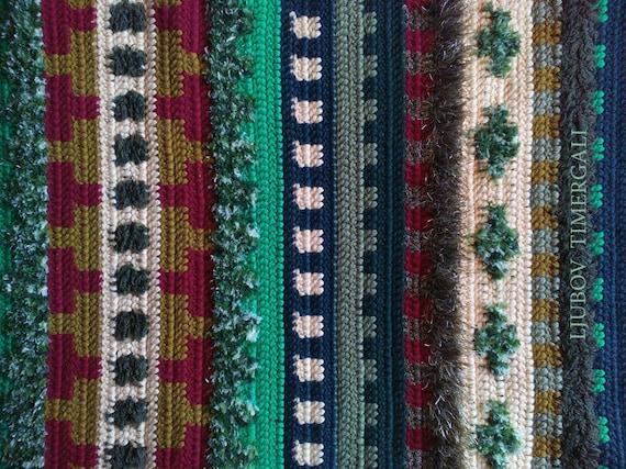 Wolle Häkeln Teppich Grün Wohnkultur Stricken Wandbehang Eco Etsy