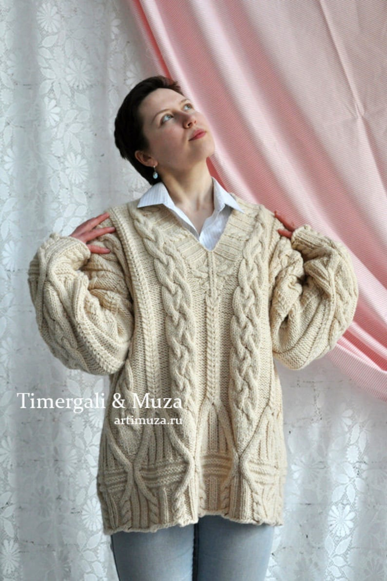 8b63fd470ad Large Knitted Sweater Soft Wool Cable Pullover V Neck Mens
