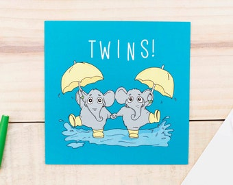 Twins Card, New Baby Card for Twins