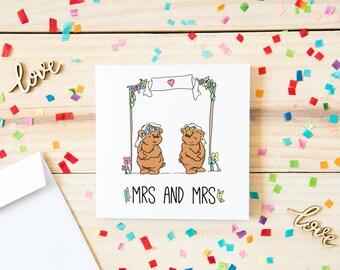 Same Sex Wedding Card, Mrs and Mrs Wedding Card, Lesbian Couple Card