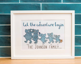 Personalised Family Print, Customisable Elephant Family Print for Coupled and Single Parent Families