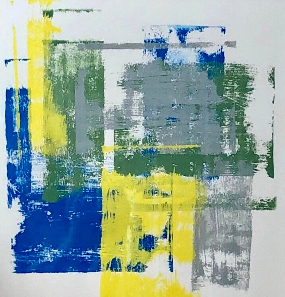 Abstract: blue, yellow, green and gray paint on paper.